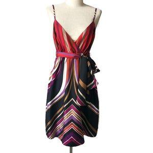 Banana Republic 6 faux wrap stripe slip dress.